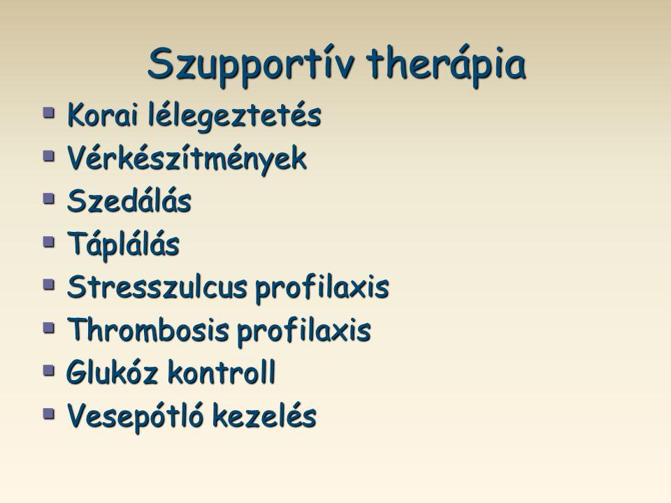 Szupportív therápia  Korai lélegeztetés  Vérkészítmények  Szedálás  Táplálás  Stresszulcus profilaxis  Thrombosis profilaxis  Glukóz kontroll 