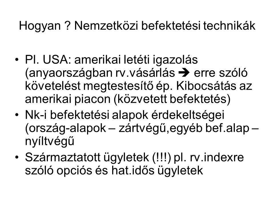 Hogyan ? Nemzetközi befektetési technikák •Pl. USA: amerikai letéti igazolás (anyaországban rv.vásárlás  erre szóló követelést megtestesítő ép. Kiboc