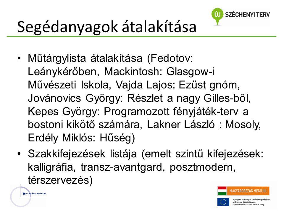 Segédanyagok átalakítása •Műtárgylista átalakítása (Fedotov: Leánykérőben, Mackintosh: Glasgow-i Művészeti Iskola, Vajda Lajos: Ezüst gnóm, Jovánovics