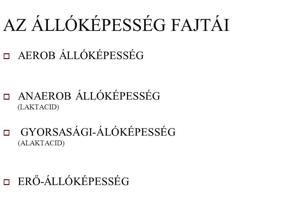 AZ ÁLLÓKÉPESSÉG FAJTÁI  AEROB ÁLLÓKÉPESSÉG  ANAEROB ÁLLÓKÉPESSÉG (LAKTACID)  GYORSASÁGI-ÁLÓKÉPESSÉG (ALAKTACID)  ERŐ-ÁLLÓKÉPESSÉG