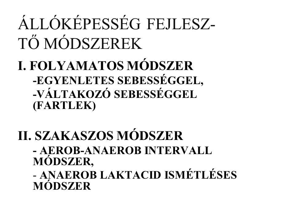 ÁLLÓKÉPESSÉG FEJLESZ- TŐ MÓDSZEREK I.