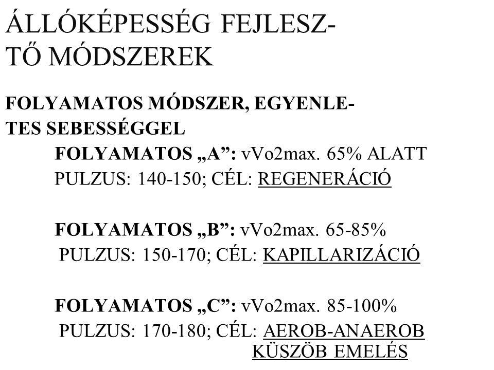 """ÁLLÓKÉPESSÉG FEJLESZ- TŐ MÓDSZEREK FOLYAMATOS MÓDSZER, EGYENLE- TES SEBESSÉGGEL FOLYAMATOS """"A : vVo2max."""