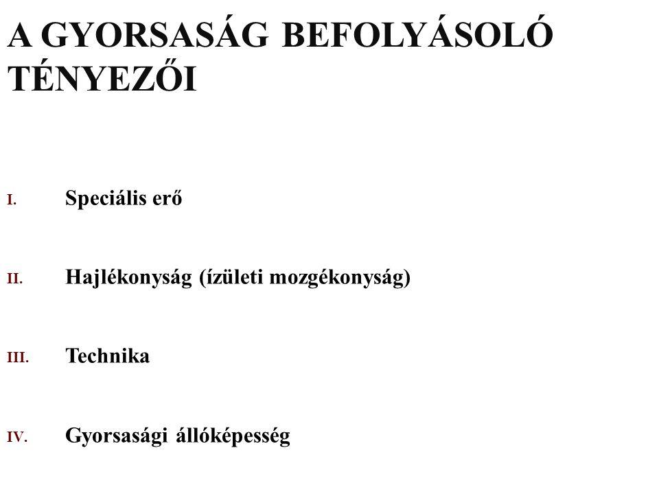 A GYORSASÁG BEFOLYÁSOLÓ TÉNYEZŐI I.Speciális erő II.