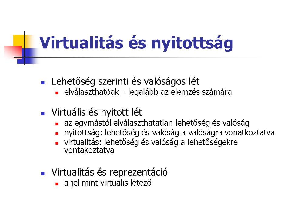 Virtualitás és nyitottság  Lehetőség szerinti és valóságos lét  elválaszthatóak – legalább az elemzés számára  Virtuális és nyitott lét  az egymás