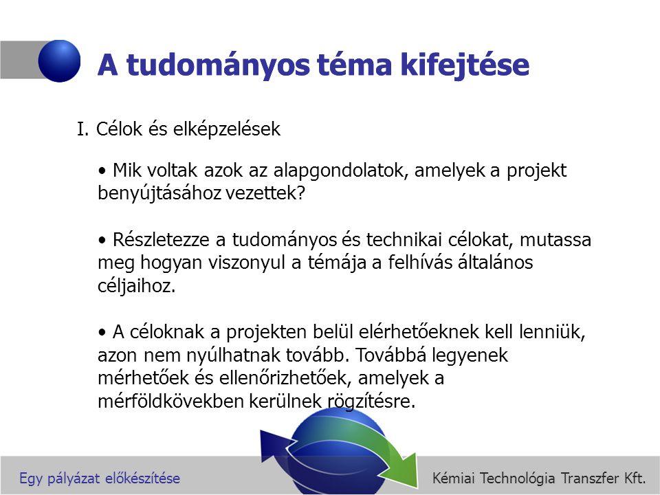 Kémiai Technológia Transzfer Kft.Egy pályázat előkészítése A tudományos téma kifejtése II.