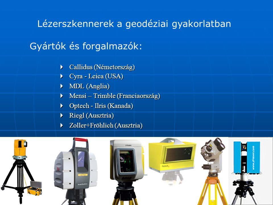 Az alapelvek:   látószög   hatótávolság   pontosság   szkennelési sebesség   hardverigény Lézerszkennerek a geodéziai gyakorlatban