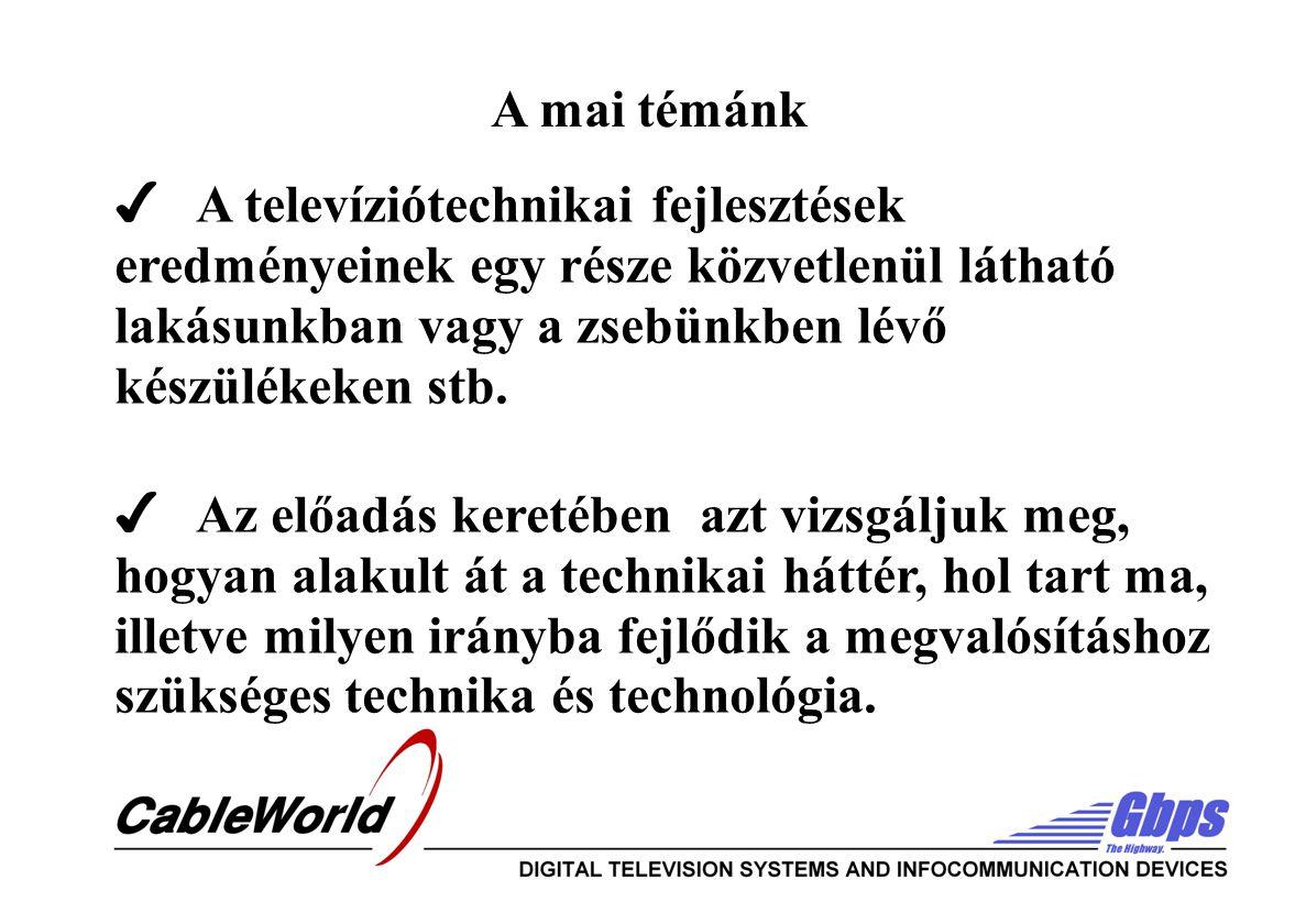 ✔ A televíziótechnikai fejlesztések eredményeinek egy része közvetlenül látható lakásunkban vagy a zsebünkben lévő készülékeken stb.