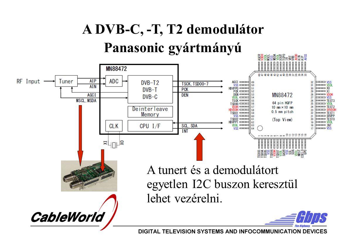 A DVB-C, -T, T2 demodulátor Panasonic gyártmányú A tunert és a demodulátort egyetlen I2C buszon keresztül lehet vezérelni.