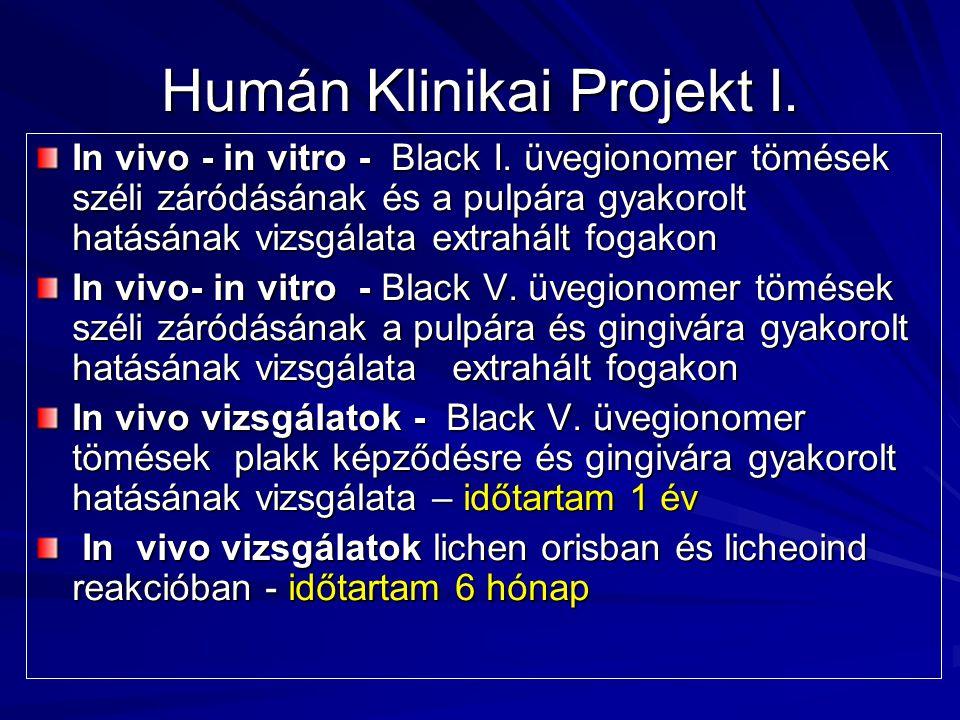 Humán Klinikai Projekt I. In vivo - in vitro - Black I. üvegionomer tömések széli záródásának és a pulpára gyakorolt hatásának vizsgálata extrahált fo