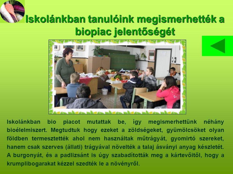 Iskolánkban tanulóink megismerhették a biopiac jelentőségét Iskolánkban bio piacot mutattak be, így megismerhettünk néhány bioélelmiszert.