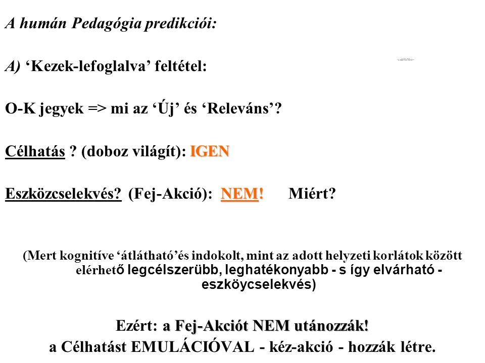 A humán Pedagógia predikciói: A) 'Kezek-lefoglalva' feltétel: O-K jegyek => mi az 'Új' és 'Releváns'.