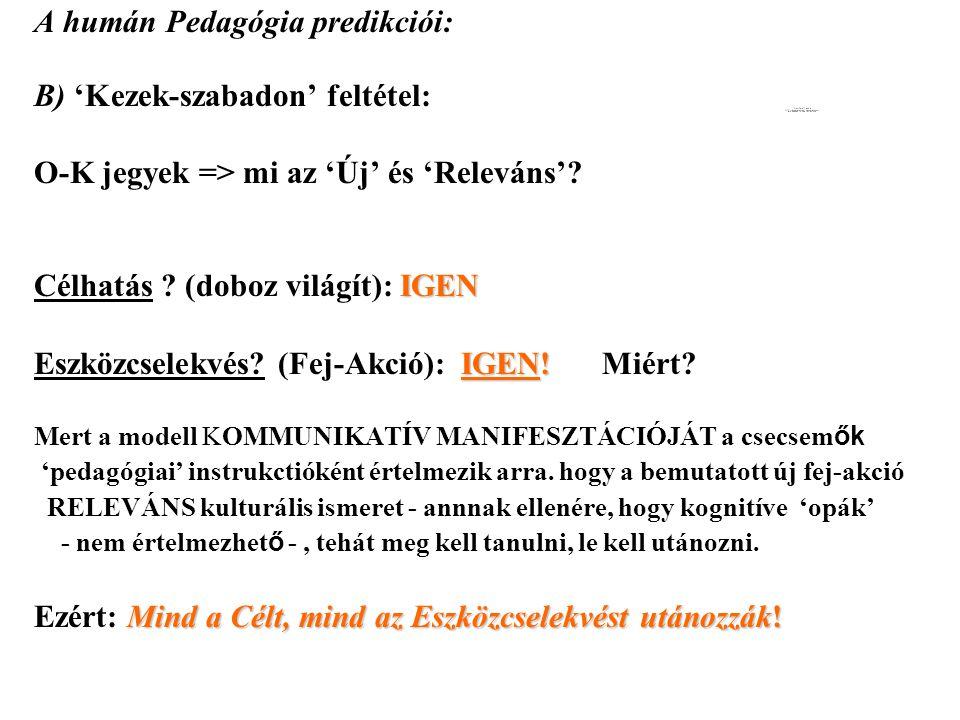 A humán Pedagógia predikciói: B) 'Kezek-szabadon' feltétel: O-K jegyek => mi az 'Új' és 'Releváns'.