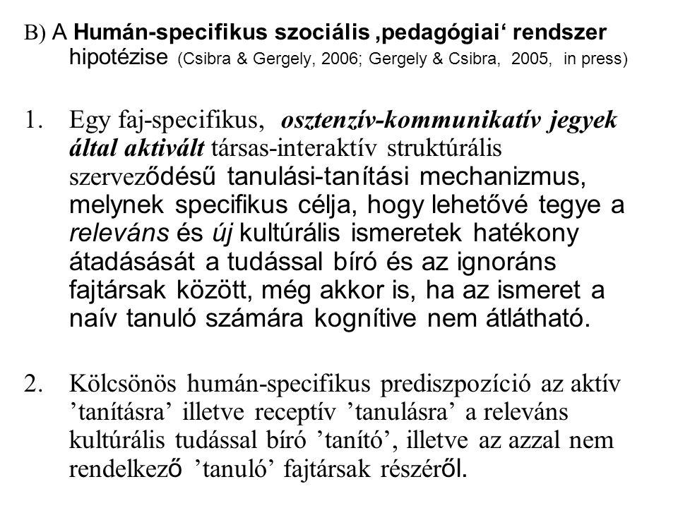 B) A Humán-specifikus szociális 'pedagógiai' rendszer hipotézise (Csibra & Gergely, 2006; Gergely & Csibra, 2005, in press) 1.Egy faj-specifikus, osztenzív-kommunikatív jegyek által aktivált társas-interaktív struktúrális szervez ődésű tanulási-tanítási mechanizmus, melynek specifikus célja, hogy lehetővé tegye a releváns és új kultúrális ismeretek hatékony átadásását a tudással bíró és az ignoráns fajtársak között, még akkor is, ha az ismeret a naív tanuló számára kognítive nem átlátható.