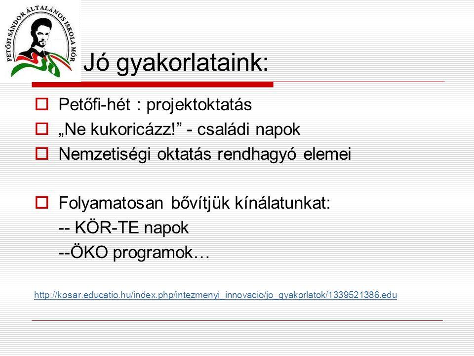 """Jó gyakorlataink:  Petőfi-hét : projektoktatás  """"Ne kukoricázz! - családi napok  Nemzetiségi oktatás rendhagyó elemei  Folyamatosan bővítjük kínálatunkat: -- KÖR-TE napok --ÖKO programok… http://kosar.educatio.hu/index.php/intezmenyi_innovacio/jo_gyakorlatok/1339521386.edu"""