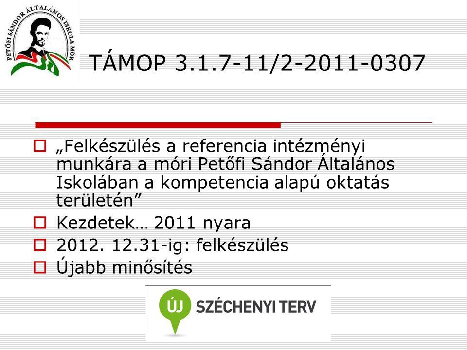 """TÁMOP 3.1.7-11/2-2011-0307  """"Felkészülés a referencia intézményi munkára a móri Petőfi Sándor Általános Iskolában a kompetencia alapú oktatás terület"""
