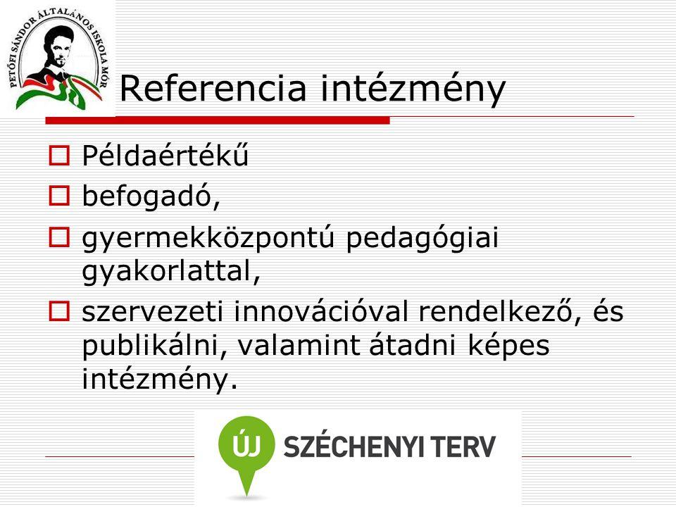 Referencia intézmény  Példaértékű  befogadó,  gyermekközpontú pedagógiai gyakorlattal,  szervezeti innovációval rendelkező, és publikálni, valamin