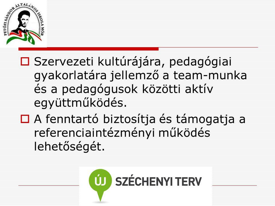  Szervezeti kultúrájára, pedagógiai gyakorlatára jellemző a team-munka és a pedagógusok közötti aktív együttműködés.  A fenntartó biztosítja és támo