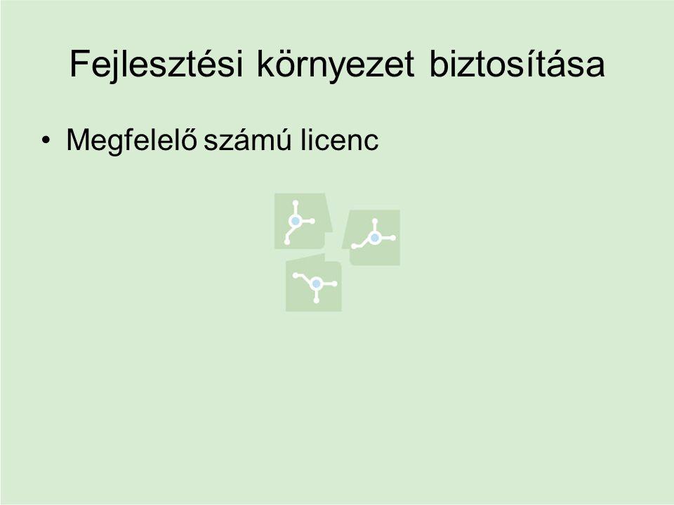 Fejlesztési környezet biztosítása •Megfelelő számú licenc