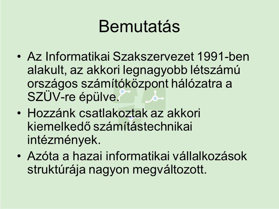Bemutatás •Az Informatikai Szakszervezet 1991-ben alakult, az akkori legnagyobb létszámú országos számítóközpont hálózatra a SZÜV-re épülve. •Hozzánk