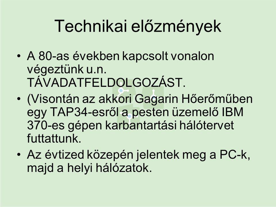 Technikai előzmények •A 80-as években kapcsolt vonalon végeztünk u.n. TÁVADATFELDOLGOZÁST. •(Visontán az akkori Gagarin Hőerőműben egy TAP34-esről a p