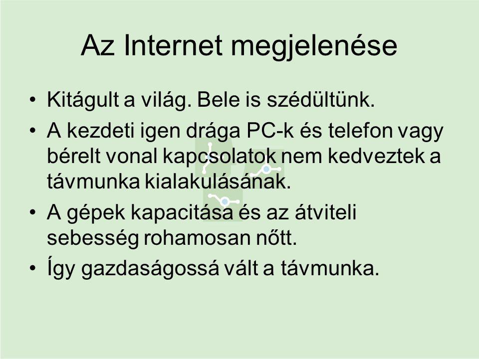 Az Internet megjelenése •Kitágult a világ. Bele is szédültünk. •A kezdeti igen drága PC-k és telefon vagy bérelt vonal kapcsolatok nem kedveztek a táv