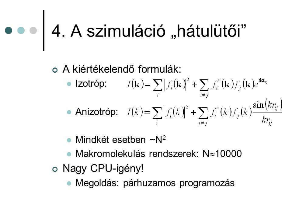 """4. A szimuláció """"hátulütői"""" A kiértékelendő formulák:  Izotróp:  Anizotróp:  Mindkét esetben ~N 2  Makromolekulás rendszerek: N  10000 Nagy CPU-i"""