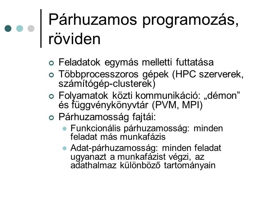 Párhuzamos programozás, röviden Feladatok egymás melletti futtatása Többprocesszoros gépek (HPC szerverek, számítógép-clusterek) Folyamatok közti komm