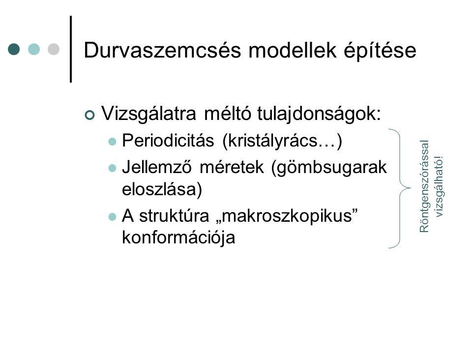 Durvaszemcsés modellek építése Vizsgálatra méltó tulajdonságok:  Periodicitás (kristályrács…)  Jellemző méretek (gömbsugarak eloszlása)  A struktúr
