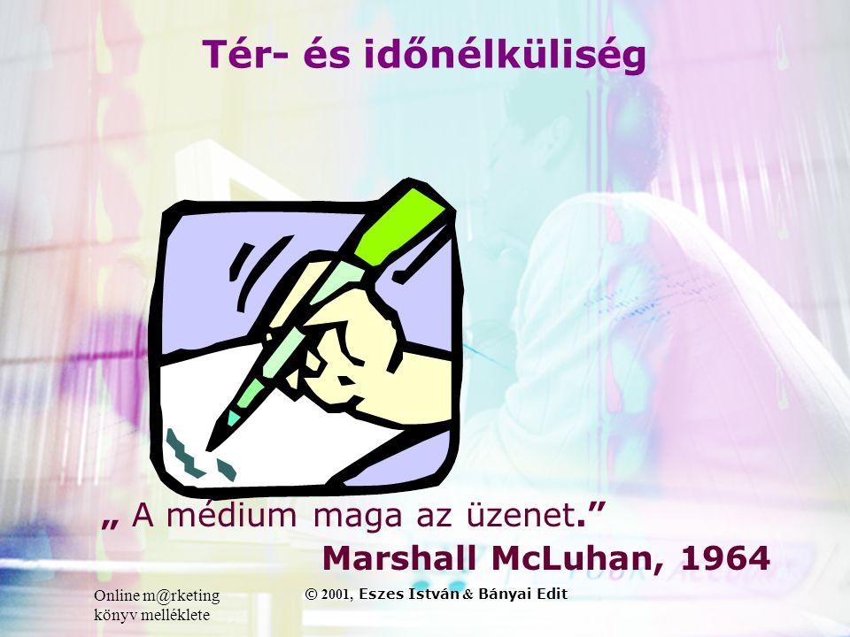 """Online m@rketing könyv melléklete © 2001, Eszes István & Bányai Edit Tér- és időnélküliség """" A médium maga az üzenet. Marshall McLuhan, 1964"""