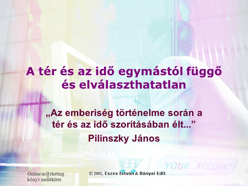 """Online m@rketing könyv melléklete © 2001, Eszes István & Bányai Edit A tér és az idő egymástól függő és elválaszthatatlan """"Az emberiség történelme során a tér és az idő szorításában élt... Pilinszky János"""