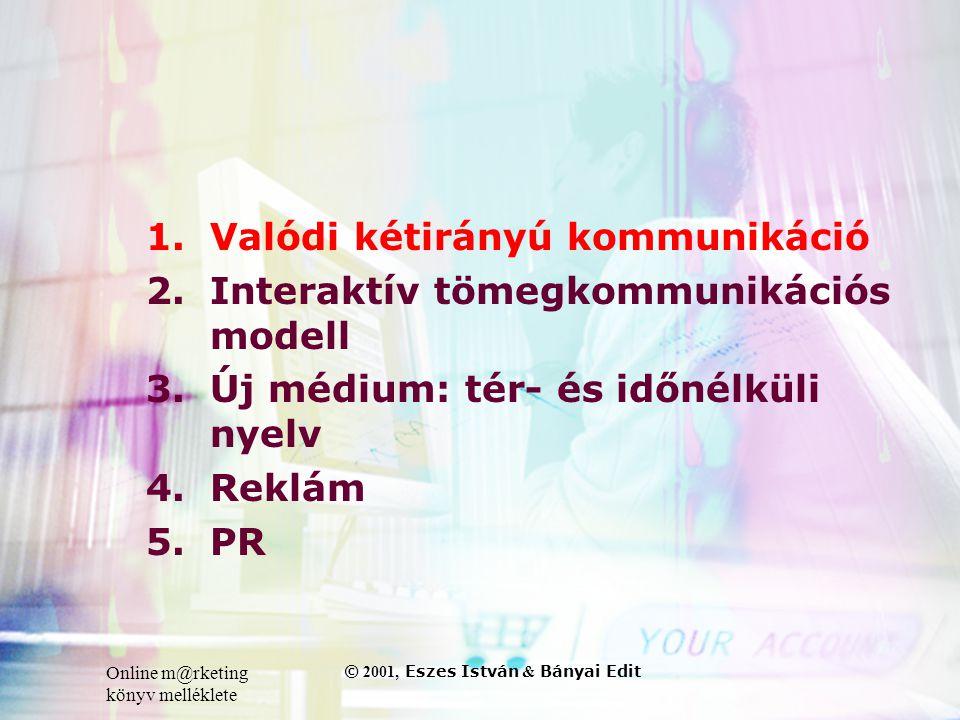 Online m@rketing könyv melléklete © 2001, Eszes István & Bányai Edit 1.Valódi kétirányú kommunikáció 2.Interaktív tömegkommunikációs modell 3.Új médium: tér- és időnélküli nyelv 4.Reklám 5.PR