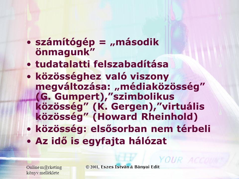 """Online m@rketing könyv melléklete © 2001, Eszes István & Bányai Edit •számítógép = """"második önmagunk •tudatalatti felszabadítása •közösséghez való viszony megváltozása: """"médiaközösség (G."""