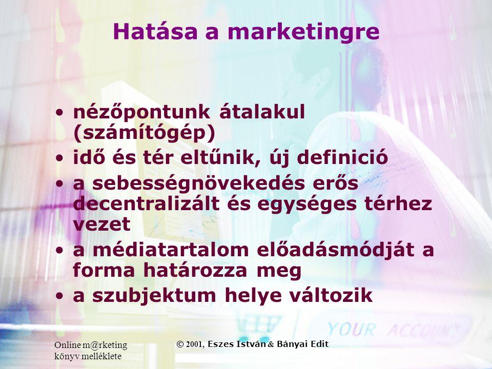 Online m@rketing könyv melléklete © 2001, Eszes István & Bányai Edit Hatása a marketingre •nézőpontunk átalakul (számítógép) •idő és tér eltűnik, új definició •a sebességnövekedés erős decentralizált és egységes térhez vezet •a médiatartalom előadásmódját a forma határozza meg •a szubjektum helye változik