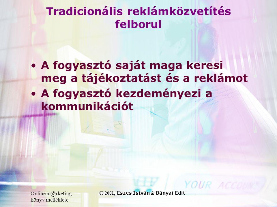 Online m@rketing könyv melléklete © 2001, Eszes István & Bányai Edit Tradicionális reklámközvetítés felborul •A fogyasztó saját maga keresi meg a tájékoztatást és a reklámot •A fogyasztó kezdeményezi a kommunikációt