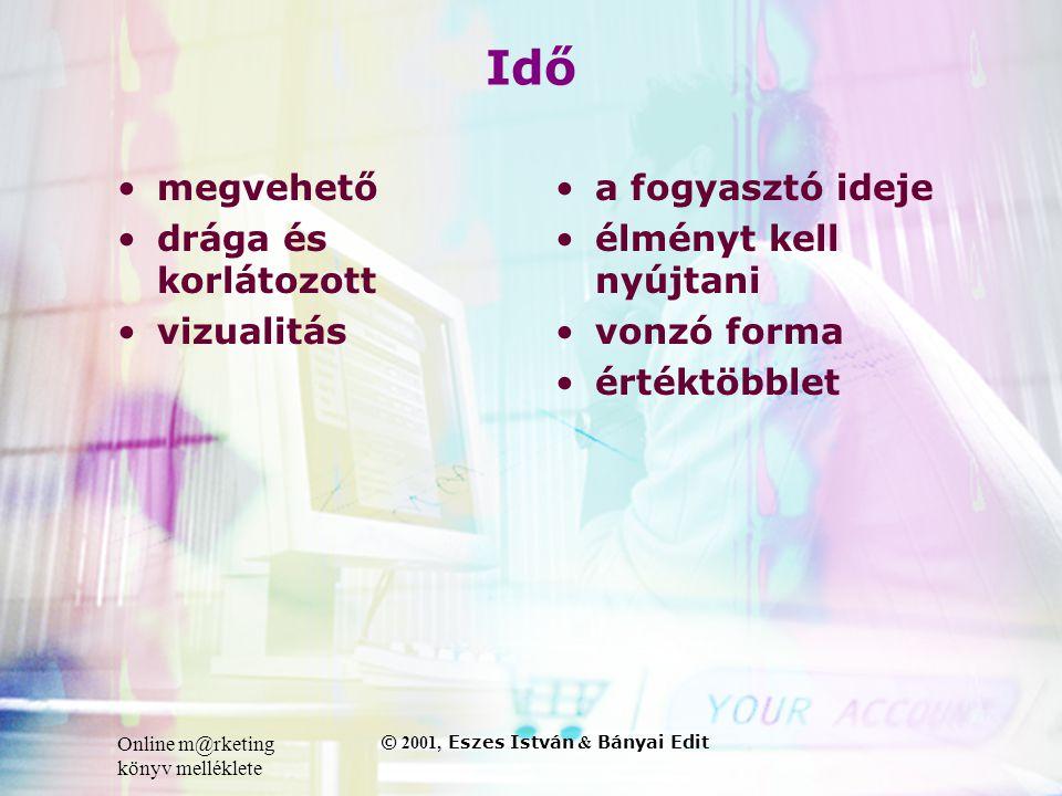 Online m@rketing könyv melléklete © 2001, Eszes István & Bányai Edit Idő •megvehető •drága és korlátozott •vizualitás • a fogyasztó ideje • élményt kell nyújtani • vonzó forma • értéktöbblet