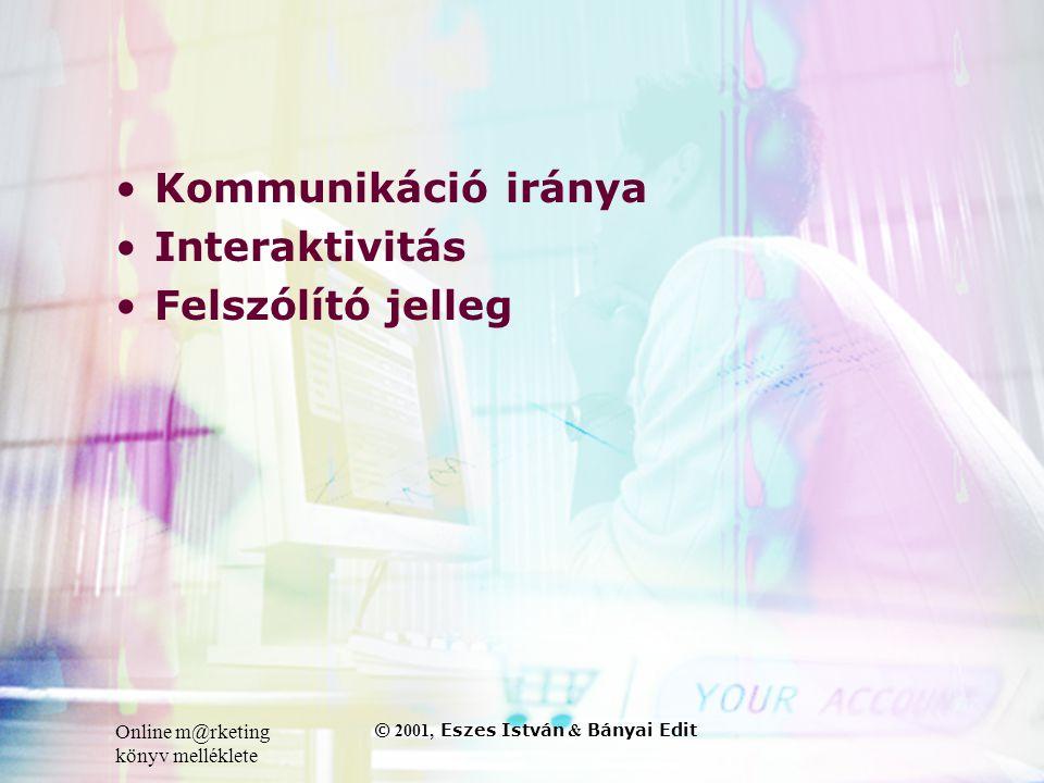 Online m@rketing könyv melléklete © 2001, Eszes István & Bányai Edit •Kommunikáció iránya •Interaktivitás •Felszólító jelleg