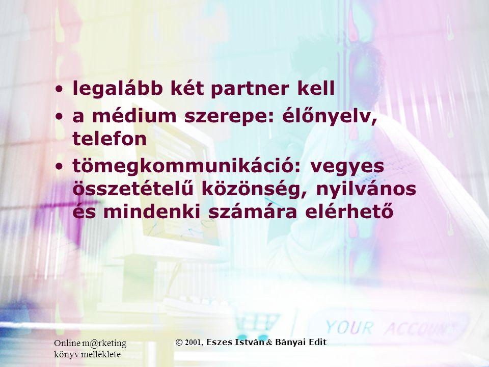 Online m@rketing könyv melléklete © 2001, Eszes István & Bányai Edit •legalább két partner kell •a médium szerepe: élőnyelv, telefon •tömegkommunikáció: vegyes összetételű közönség, nyilvános és mindenki számára elérhető