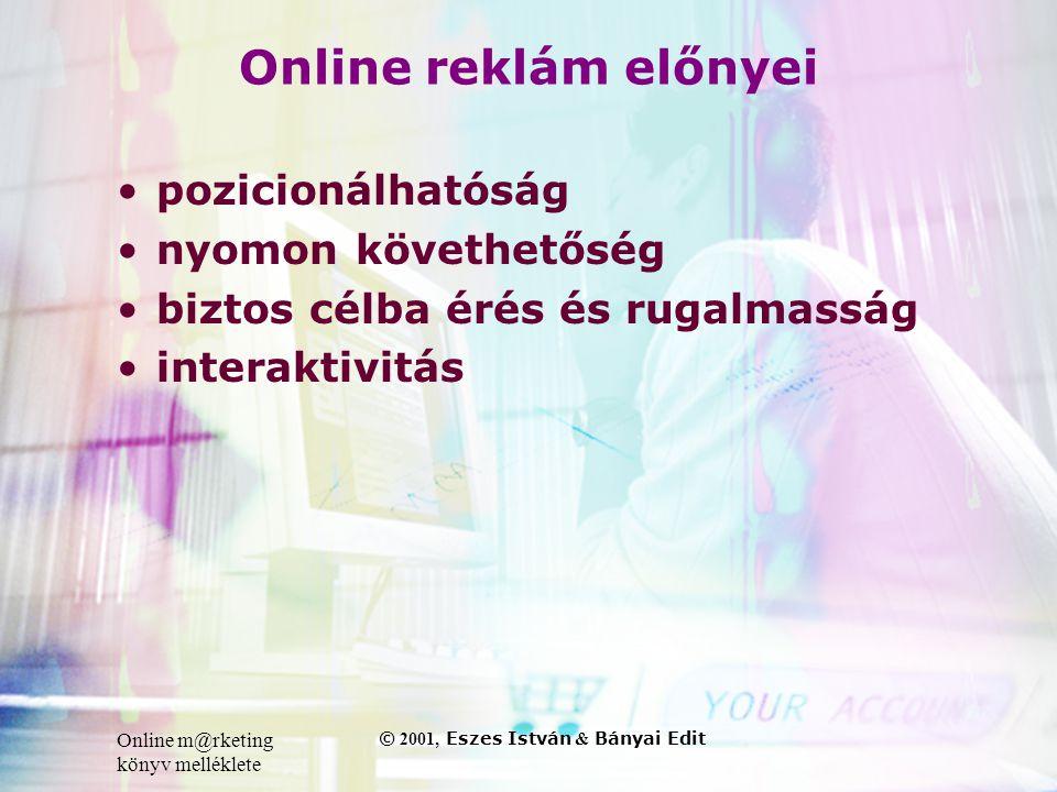 Online m@rketing könyv melléklete © 2001, Eszes István & Bányai Edit Online reklám előnyei •pozicionálhatóság •nyomon követhetőség •biztos célba érés és rugalmasság •interaktivitás