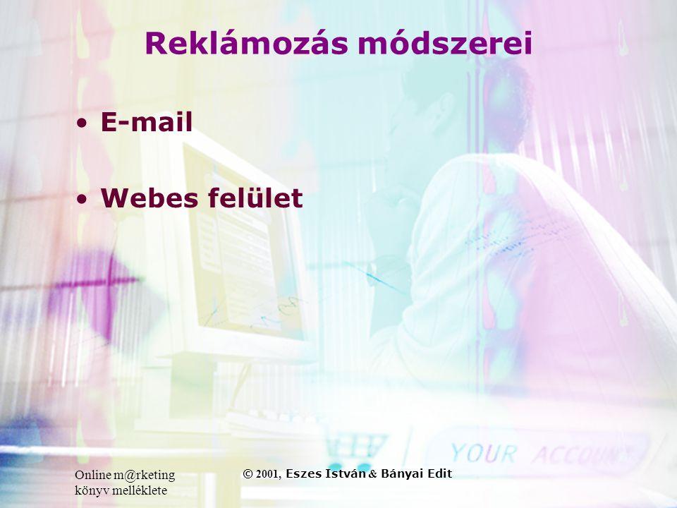 Online m@rketing könyv melléklete © 2001, Eszes István & Bányai Edit Reklámozás módszerei •E-mail •Webes felület