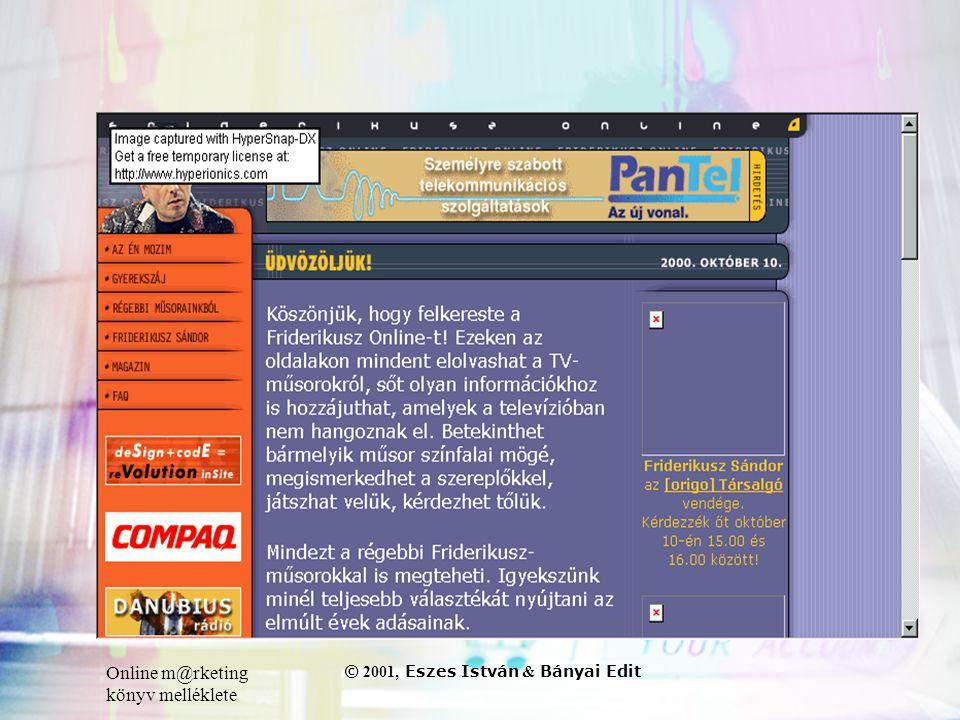 Online m@rketing könyv melléklete © 2001, Eszes István & Bányai Edit