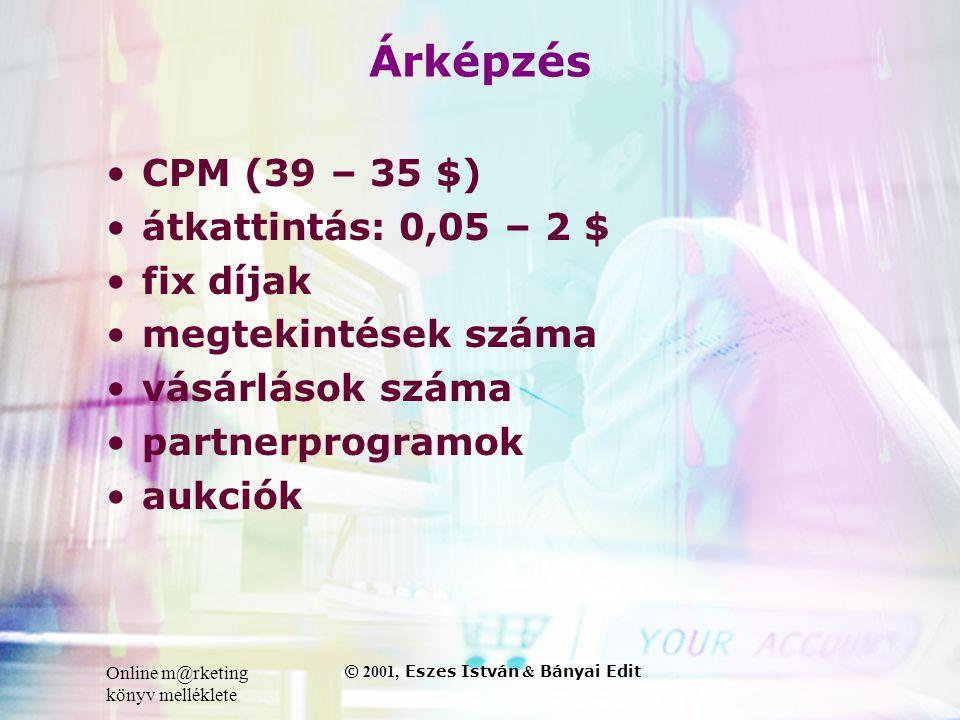 Online m@rketing könyv melléklete © 2001, Eszes István & Bányai Edit Árképzés •CPM (39 – 35 $) •átkattintás: 0,05 – 2 $ •fix díjak •megtekintések száma •vásárlások száma •partnerprogramok •aukciók