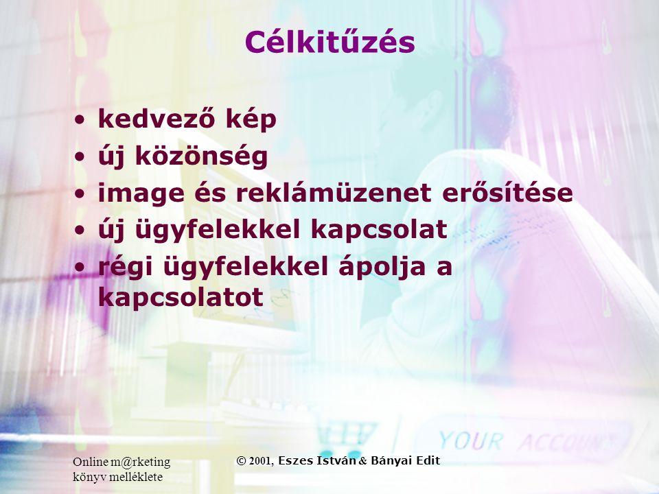 Online m@rketing könyv melléklete © 2001, Eszes István & Bányai Edit Célkitűzés •kedvező kép •új közönség •image és reklámüzenet erősítése •új ügyfelekkel kapcsolat •régi ügyfelekkel ápolja a kapcsolatot