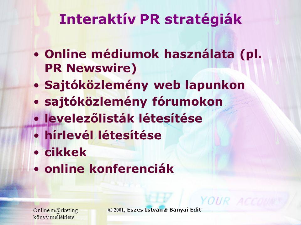Online m@rketing könyv melléklete © 2001, Eszes István & Bányai Edit Interaktív PR stratégiák •Online médiumok használata (pl.