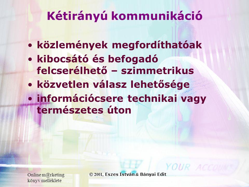Online m@rketing könyv melléklete © 2001, Eszes István & Bányai Edit Kétirányú kommunikáció •közlemények megfordíthatóak •kibocsátó és befogadó felcserélhető – szimmetrikus •közvetlen válasz lehetősége •információcsere technikai vagy természetes úton