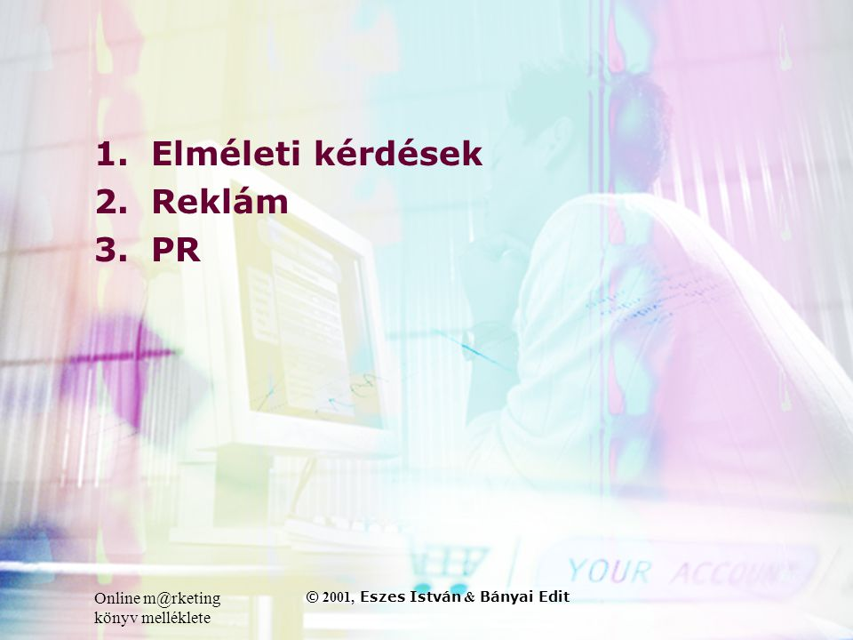 Online m@rketing könyv melléklete © 2001, Eszes István & Bányai Edit 1.Elméleti kérdések 2.Reklám 3.PR