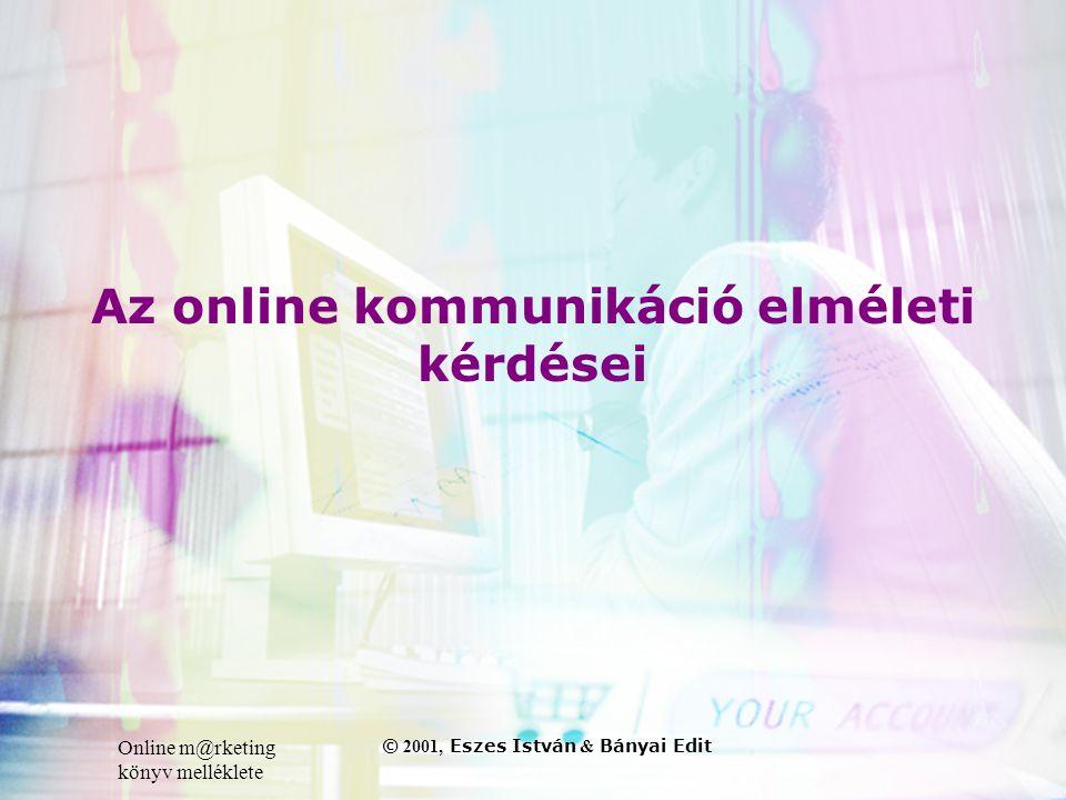 Online m@rketing könyv melléklete © 2001, Eszes István & Bányai Edit Az online kommunikáció elméleti kérdései