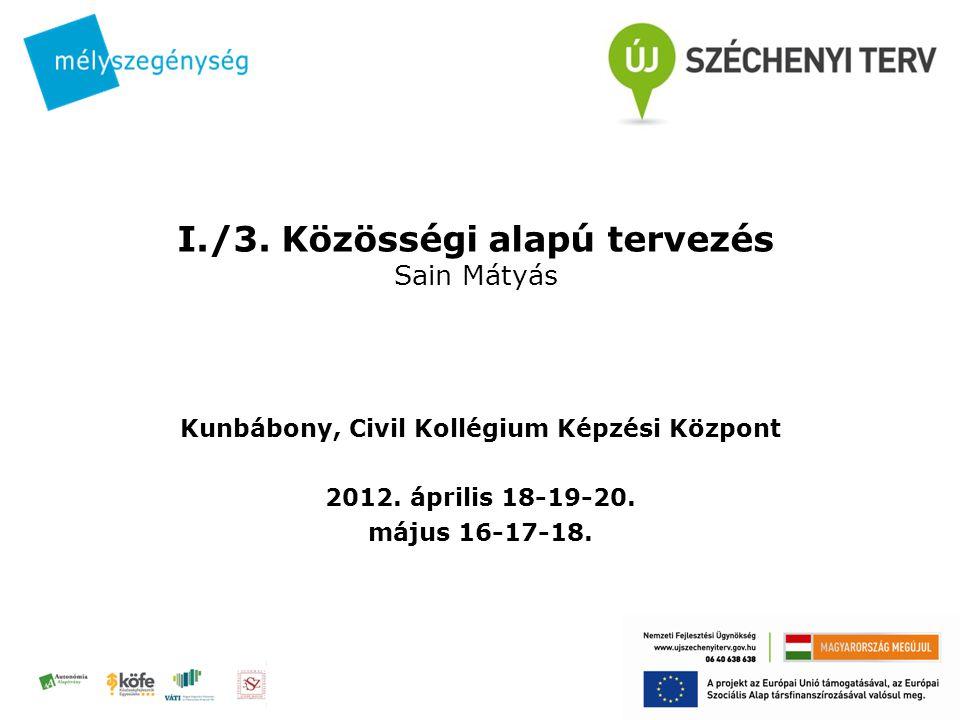 I./3. Közösségi alapú tervezés Sain Mátyás Kunbábony, Civil Kollégium Képzési Központ 2012.