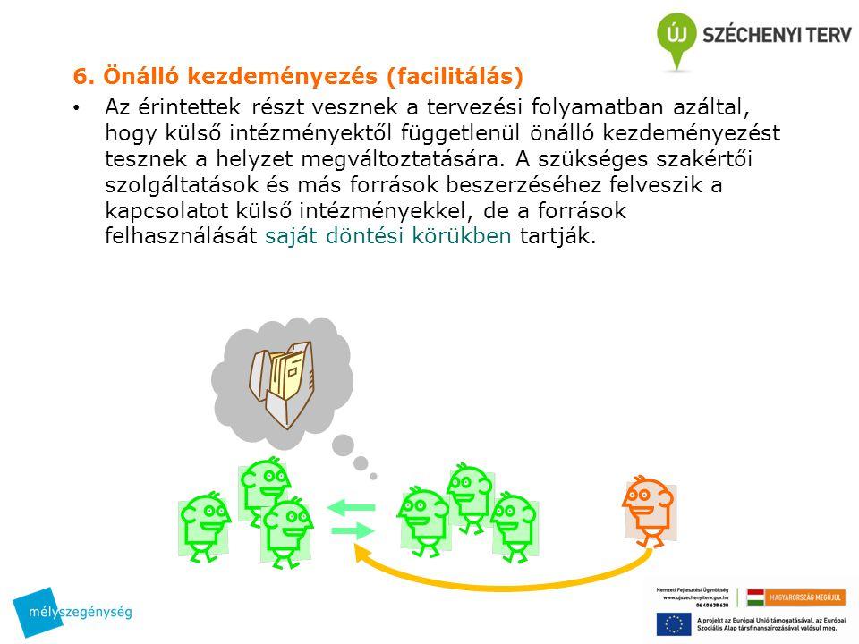 6. Önálló kezdeményezés (facilitálás) • Az érintettek részt vesznek a tervezési folyamatban azáltal, hogy külső intézményektől függetlenül önálló kezd