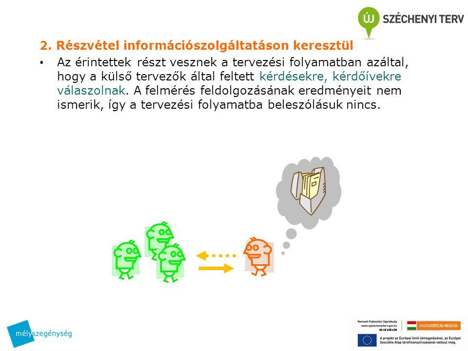 2. Részvétel információszolgáltatáson keresztül • Az érintettek részt vesznek a tervezési folyamatban azáltal, hogy a külső tervezők által feltett kér