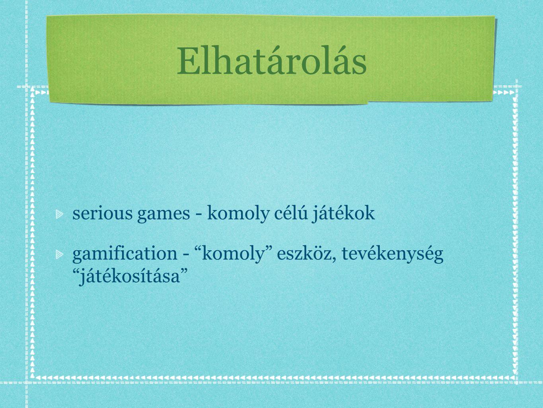 Elhatárolás serious games - komoly célú játékok gamification - komoly eszköz, tevékenység játékosítása